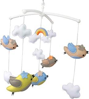 Arc en ciel et oiseau Jouet de décoration de lit bébé Mobile musical musical pour berceau fait main en tissu non tissé