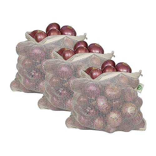 Reusable Onion Storage Bags - Organic Cotton Mesh Onion Bags with Drawstring - Washable Onion Holder Storage - Net Onion Keeper Sacks - Perfect Potato Storage Bags - Root Vegetable Sacks (3 X-Large)