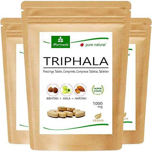 Tabletas de Triphala 1000mg (120 o 360 tabletas) hechos de la fruta del rey ayurveda Amla, Hiritaki y Bibhitaki: producto de calidad totalmente natural de MoriVeda (360 tabletas)