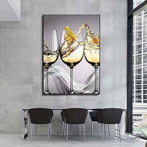 Modern abstrakt bägare segelbåt Off-White Line Art Canvas målning Nordiska affischer och tryck Wall Art For Bar Hotel Decoration-50x70cm-Ingen ram