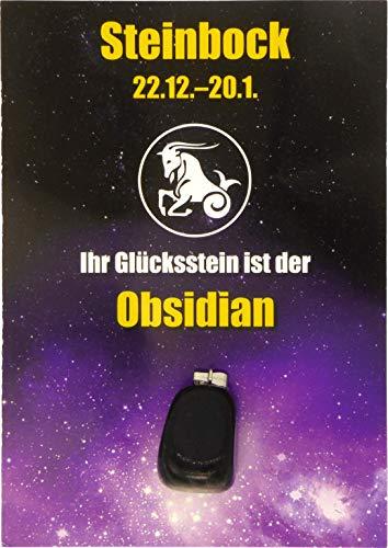Edelstein-Sternzeichenanhänger | Glücksstein für die Sternzeichen mit Infokärtchen (Steinbock - Obsidian)