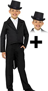 Boys Kids Childs Black Tailcoat Fancy Dress Costume Victorian Outfit 4-13 Yrs