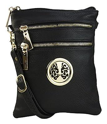 Mia K Collection Crossbody Bag for Women - Adjustable Strap - PU Leather Crossover Designer Side Messenger Purse Grey