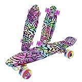 Caroma komplettes Skateboard mit LED Licht Räder 22 Zoll 55cm Penny Board für Kinder Jungen und...