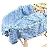 Manta de punto para bebé para niños y niñas, 100 x 76 cm, manta de ganchillo...