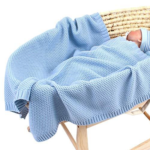 Babydecke stricken Kleinkind Decken für Jungen und Mädchen 40 x 30 Zoll, gestrickte häkeln Decke Neugeborenen Kinderwagen Swaddle Decke (Blau)
