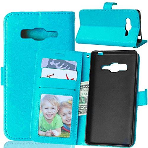 Fatcatparadise Kompatibel mit Samsung Galaxy Z3 Hülle + Bildschirmschutz, Flip Wallet Hülle mit Kartenhalter & Magnetverschluss Halterung PU Leder Hülle handyhülle (Blau)
