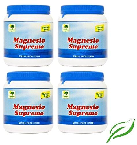 NATURAL POINT - MAGNESIO SUPREMO 4 CONFEZIONI DA 300 GR antistress naturale, stanchezza cronica, mal di testa, sistema nervoso