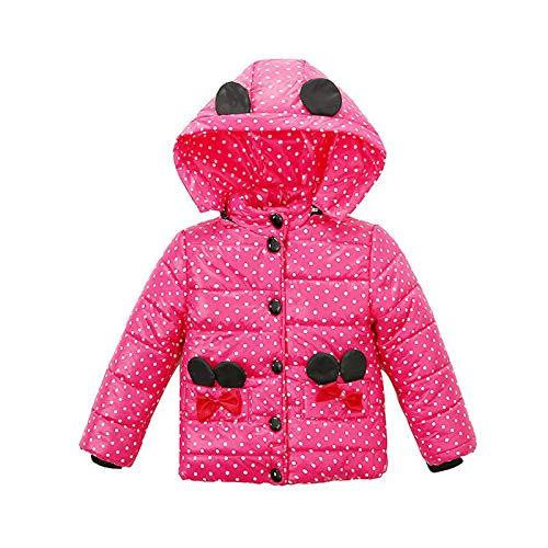 NINGSANJIN Baby-Kapuzen Mantel, Mode Kinder Mantel Baby Mädchen Dicke Mantel Daunenjacke Gepolsterte Dot Bowknot Winter Jacke Kleidung (Age:1-2T, Hot Pink)