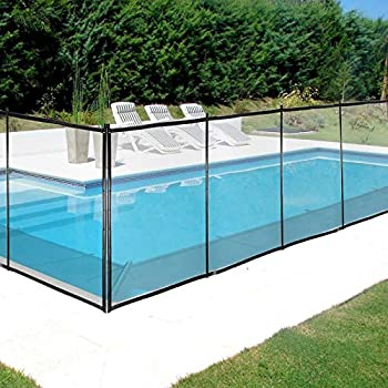 Happybuy Pool Fence for Inground Pools 4  x 12  - Pool Fence Black Mesh Barrier - Removable DIY Pool Fencing with Section Kit  4  x 12