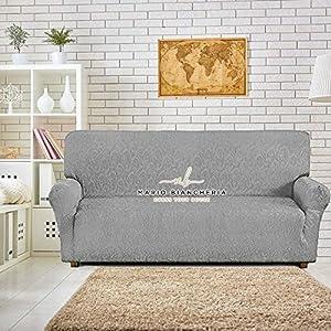 PETTI Artigiani Italiani sofá Elástica, Protector, Tejido Jacquard, 100% Made in Italy, Tela, Gris, Funda Sillon (85 a 110 cm)