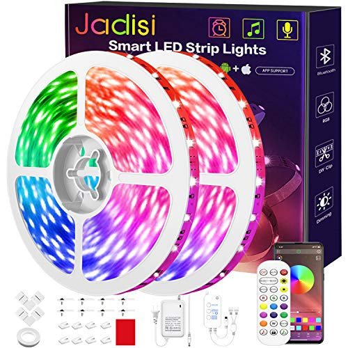 656ft Led Strip Lights Jadisi Ultra Long 5050 Music Sync Flexible Color Changing RGB Led Light Strips APP Controller 24 Key Remote Led Lights for Bedroom Home Decoration