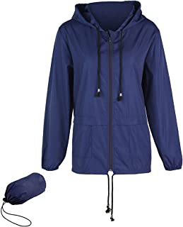 Greetuny Womens Waterproof Jacket Packable rain Jacket Lightweight Hood Rain Jacket with Drawstring