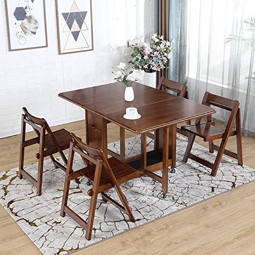 MEI XU 5PCS de madera Mesa de comedor conjunto con 4 taburetes gota enrollamiento de las hojas Desayuno silla de la barra conjunto de mesa y cocina isla carretilla carrito con ruedas plegable Lavavaji