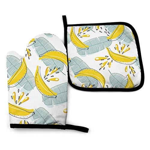 SHENLE Rękawice do piekarnika z liści bananowych i garnków rękawice do grillowania z antypoślizgowymi rękawicami do gotowania wypełniona recyklingową bawełną do gotowania, pieczenia i grillowania