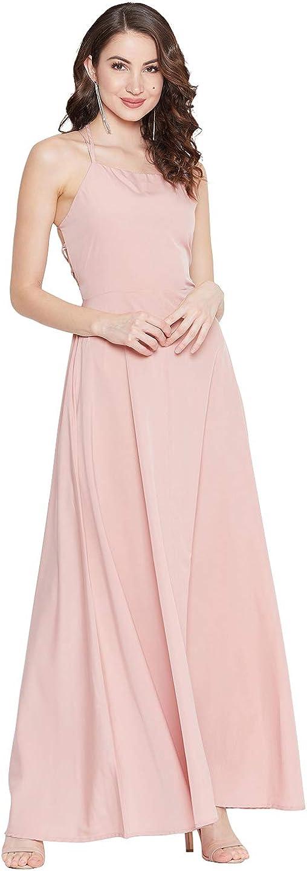 Berrylush Women Solid Stylish Back Casual Maxi Dress   Polyester