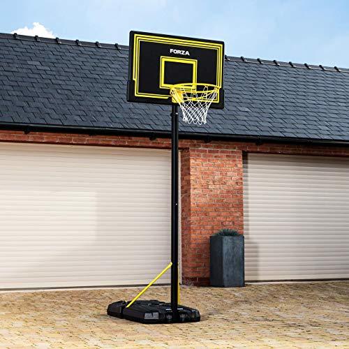 FORZA Canasta de Baloncesto Portátil con Ruedas – Tablero, Poste & Aro de Altura Ajustable   Balón, Inflador y Sistema de Retorno Opcionales (4 Tamaños) (JS305, Poste sólo)