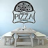 DOUMAISHOP Etiqueta De La Pared del Vinilo De La Pizza Sabrosa Etiqueta De La Ventana del Logotipo De La Tienda De La Pizzería Entrega Rápida A Domicilio Logotipo De La Pizzería Cartel del Arte De L