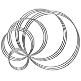 Benvo Metal Rings Hoops 15 Pieces Steel Craft Silver Rings for Dream Catcher, Macrame and Other DIY Projects in 5 Sizes (2 Inch, 3 Inch, 4 Inch, 5.5 Inch, 6.3 Inch, Silver)