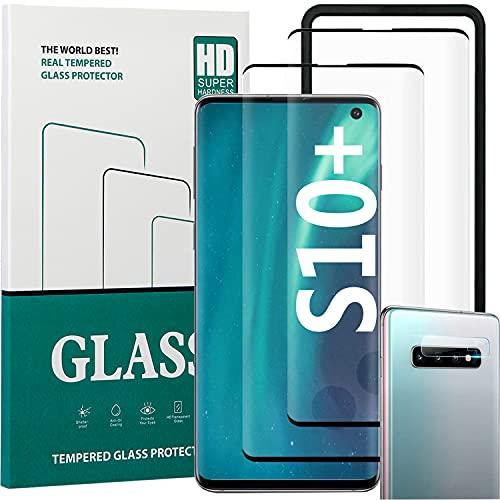 Samsung Galaxy S10 Plus Panzerglas Schutzfolie,Galaxy S10+ Vollständige Deckung Displayschutzfolie[2+1+1Pack][Kameralinsenschutz][Einfacher Installationsrahmen][Blasenfreie]HD Schutzfolie für S10 Plus