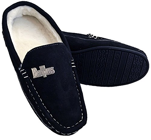 The Beatles Rock Robes Stitch Moccasin Men's Slippers (Size 7/8 UK) Black