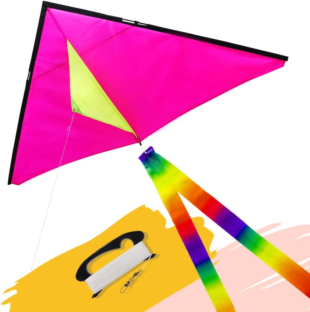 emma kites Fun Color Delta Kite Easy for Beginners Kids Adults G