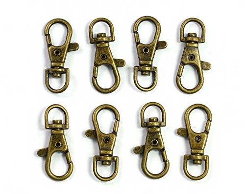 ALL in ONE Lobster Claw Swivel Clasps Lobster Snap Clasp Hook for Key Ring DIY Craft Jewelry Making 1-1/2'x5/8' (Antique Bronze-50pcs)