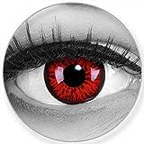 Funnylens Lentes de contacto de colores Red Demon rojo y negro – Lentillas blandas sin graduación + estuche gratis – 12 lentillas mensuales – perfecto para Halloween, carnaval o carnaval