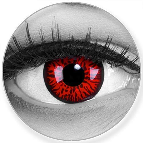Funnylens Farbige Kontaktlinsen Red Demon rot schwarz – Monster Linsen weich ohne Stärke 2er Pack + gratis Behälter – 12 Monatslinsen - perfekt zu Halloween Karneval Fasching oder Fasnacht