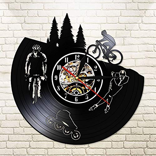 Zhuimin Skate Biker Skater Gramophone Record Wandklok Dirt Bike Fiets zwart Sporthorloge LED Licht Duval Saty 12x12inch Sans Lumière Led