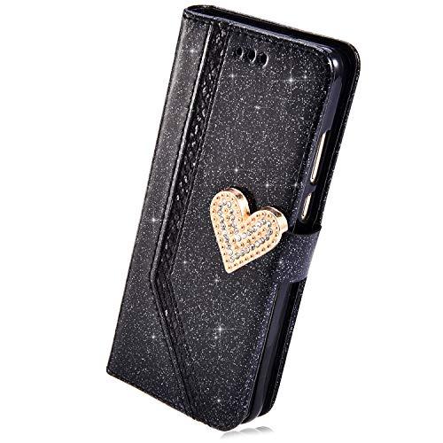KunyFond 3D Papillon Etui PU Cuir Housse /à Rabat Portefeuille Paillettes Glitter Diamant Strass Coque Leather Fentes Carte Bumper Holster Case Couverture Compatible Samsung Galaxy J4 Plus 2018,Rouge