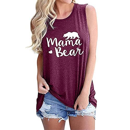 Camiseta Sin Mangas Mujer Cómoda Cuello Redondo Estampado De Letras Mujeres Chalecos Sueltos All-Match Casual Clásico Personalidad Elasticidad Mujeres Tops Sin Mangas C-Dark Purple1 XL