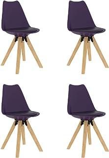 vidaXL 4X Sillas de Comedor Asiento Mobiliario Muebles de Salón Sala de Estar Cocina Hogar Escritorio Acolchado Suave Cómodo con Respaldo Lila