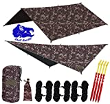 Chill Gorilla 10x10 Hammock Rain Fly Camping Tarp. Ripstop Nylon. 170' Centerline. Stakes, Ropes & Tensioners Included. Camping Gear & Accessories. Perfect Hammock Tent. Multiple Colors.