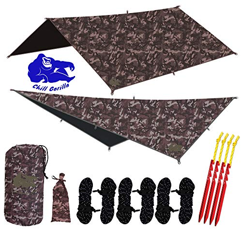Chill Gorilla 10x10 Hammock Rain Fly Camping Tarp. Ripstop Nylon. 170' Centerline. Stakes, Ropes & Tensioners Included. Camping Gear & Accessories. Perfect Hammock Tent. CAMO