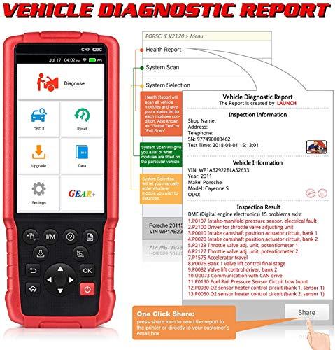 LAUNCH CRP429C OBD2 maquina diagnosis Lector de código Herramienta de escaneo de diagnóstico Restablecimiento de aceite, EPB, BMS, DPF, IMMO, Restablecimiento de TPMS, Motor ABS SRS Transmisión WIFI