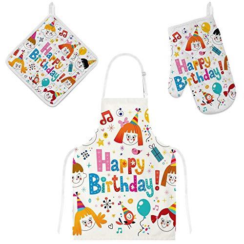jeansame Schort en Oven Handschoen Mitt Pot Houder Set Gelukkige Verjaardag Ballonnen