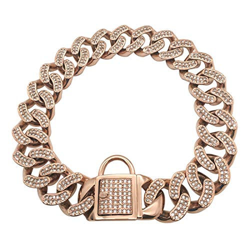 DUPFY 32MM Width Heavy Duty Cuban Rose Gold Dog Chain with Safety Lock,with CZ Diamond,Luxury Dog Collar Personalizedl for Medium Large Dogs American Pitbull German Shepherd 45cm