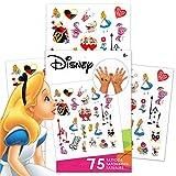 Disney Alice in Wonderland Tattoos Party Favors Pack ~ Bundle Includes 75 Alice in Wonderland Temporary Tattoos (Alice in Wonderland Party Supplies)