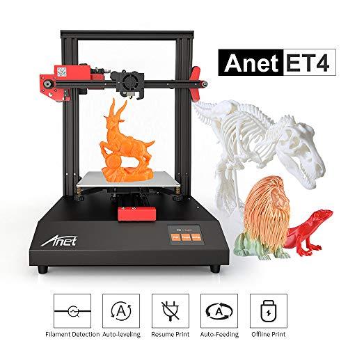 Aibecy Impresora 3D Anet ET4 Estructura de estructura metálica Volumen de construcción 220 * 220 * 250 con pantalla táctil a color de 2,8 pulgadas Tarjeta de 8G TF y filamento de muestra PLA de 10 m