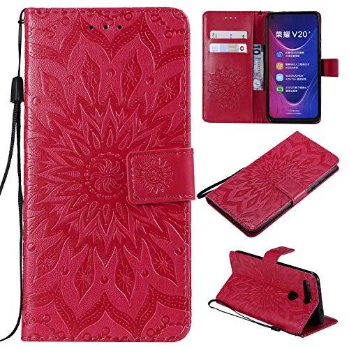 KKEIKO Hülle für Huawei Honor View 20, PU Leder Brieftasche Schutzhülle Klapphülle, Sun Blumen Design Stoßfest Handyhülle für Huawei Honor View 20 - Rot
