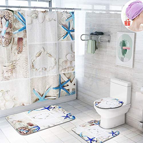 Enhome Badteppich Set 4teilig, Badvorleger Duschvorleger Bad Fußmatten Badezimmermatten Set mit Duschvorhang, rutschfeste U-Sockelteppich, Toilettenabdeung & Badematte (Seestern)