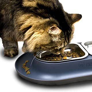 Hepper - Nomnom Modern Cat Bowl - Whisker Friendly + No Spill - Stainless Steel Pet Food and Water Dish for Cats, Dogs, and Small Pets