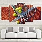 WJY Pintura Abstracta en Lienzo 5 Paneles Raqueta de Tenis P