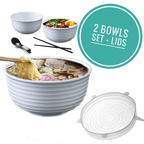 Vallenwood: 2 Noodle Bowl (8 pieces) Melamine White Large Ramen Bowls Set. Asian Chinese Japanese or Pho Soup 46 oz. With Spoons, Chopsticks And Silicone Stretch Lids Like A Gift. Thai Miso Udon…