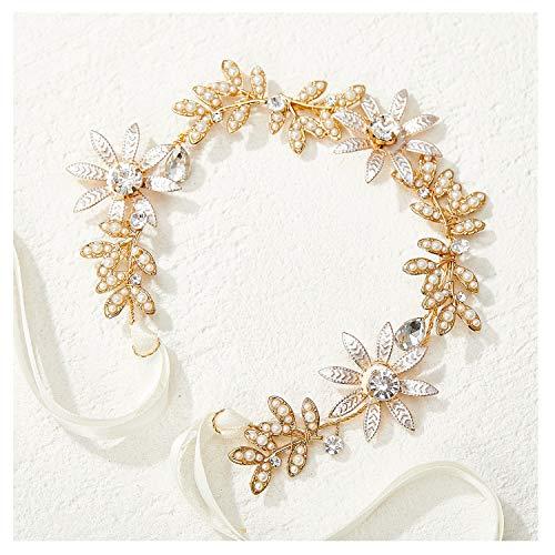 SWEETV Gold Hochzeit Stirnband Perle Braut Kopfschmuck Kristall Blume Blatt Haar Rebe Haarschmuck für Braut