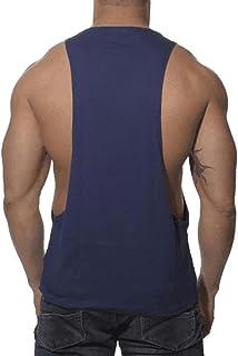 Hanaturu(ハナツル) タンクトップ メンズ スポーツウェア ノースリーブ トップス 無地 アクティブウェア 筋トレ ボディビル Tシャツとタンクトップ サーマル トレーニングウェア マッスルフィット S-XL (L, ブルー)