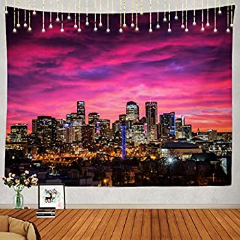 Shrahala Sunrise Tapestry Denver Skyline Wall Hanging Large Tapestry Psychedelic Tapestry Decorations Bedroom Living Room Dorm 51.2 x 59.1 Inches Pink