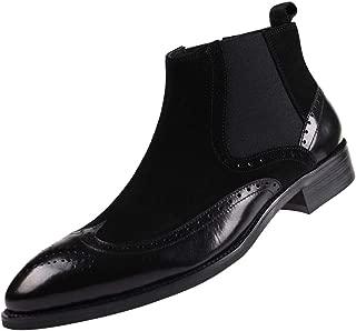 Mens Chelsea Dress Boots Leather Suede Wingtip Brogue Distinctive Slip on