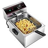 Giantex 2500W Commercial Deep Fryer Electric Countertop Fryer Restaurant Kitchen Frying 6L Single Tank w/Fryer Basket...